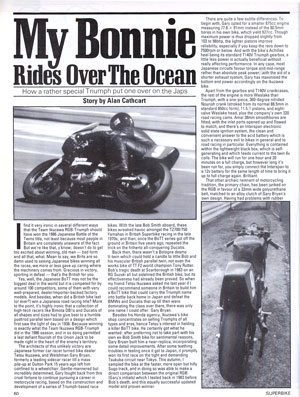 My Bonnie Rides Over The Ocean - How a rather special Triumph Bonneville put one over on the Japs - Story by Alan Cathcart